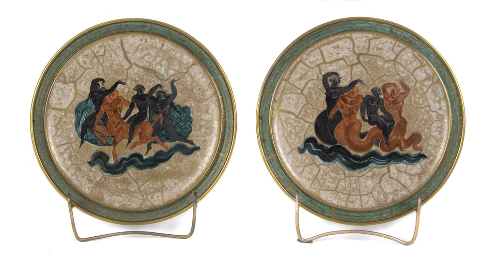 <B>JEAN MAYODON FOR SEVRES</B><BR> PAIR OF HAND PAINTED PLATES, CIRCA 1951</BR>