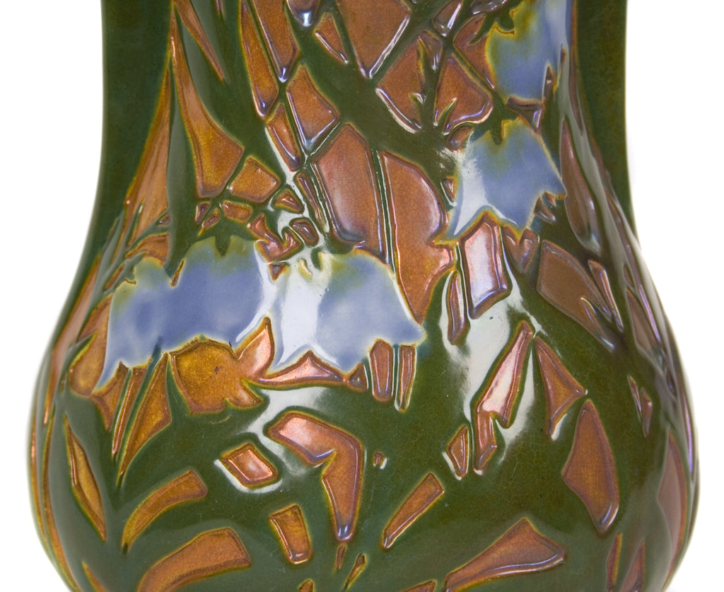 <B>ZSOLNAY</B><BR> CAMEO EFFECTS BLUEBELL VASE, CIRCA 1904-1906</BR>