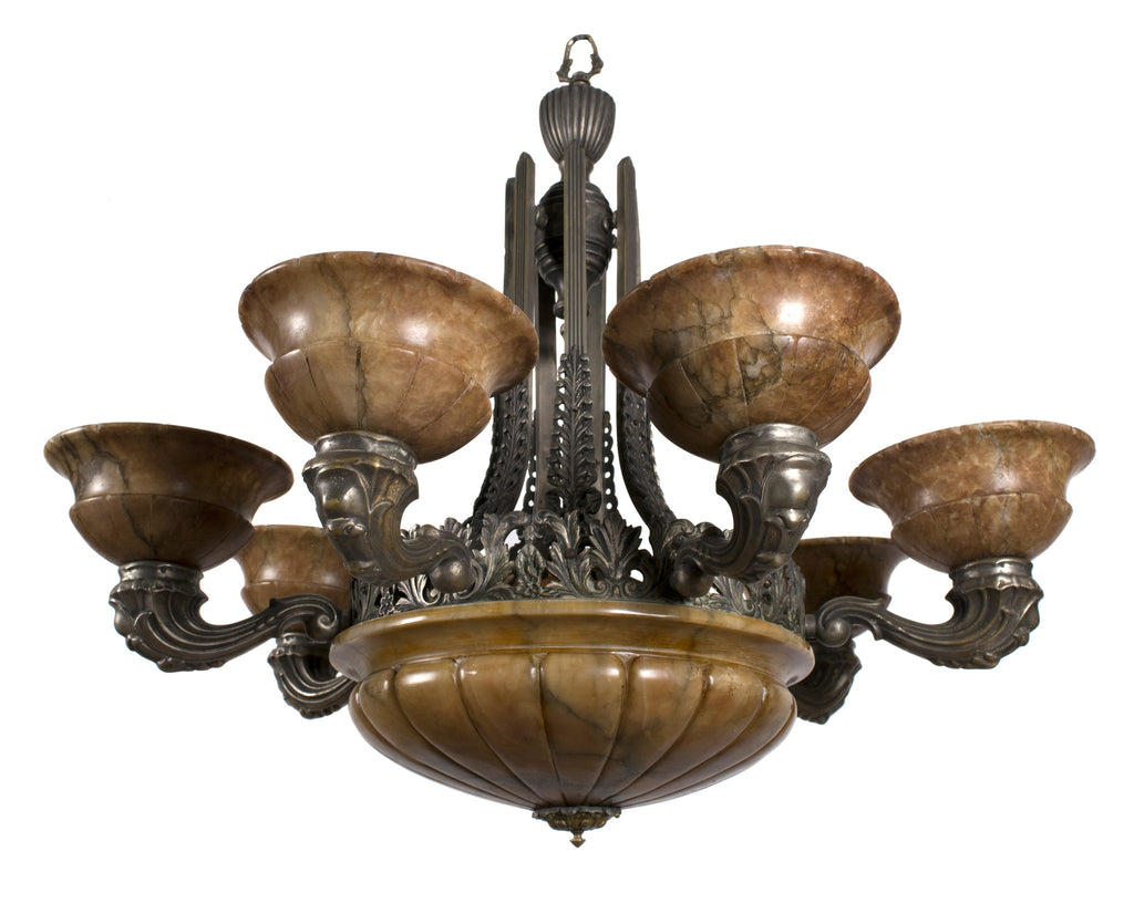 <b>FRENCH SILVERED BRONZE CHANDELIER</b><br>CIRCA 1900</br>