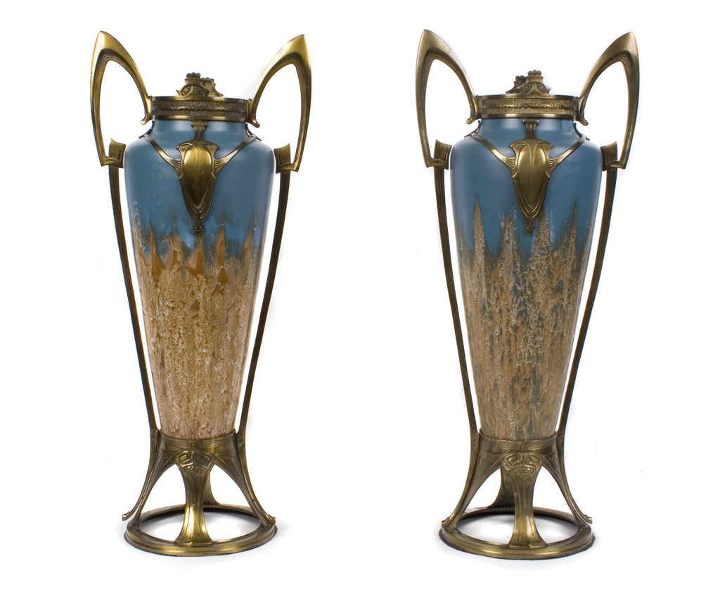 <B>SYLE OF OTTO ECKMANN</B><BR>PAIR OF BRONZE MOUNTED VASES, CIRCA 1910</br>