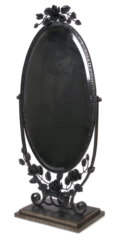 <b>OSCAR BACH (ATTRIBUTED)</b><br>WROUGHT IRON TABLE MIRROR, CIRCA 1930</br>