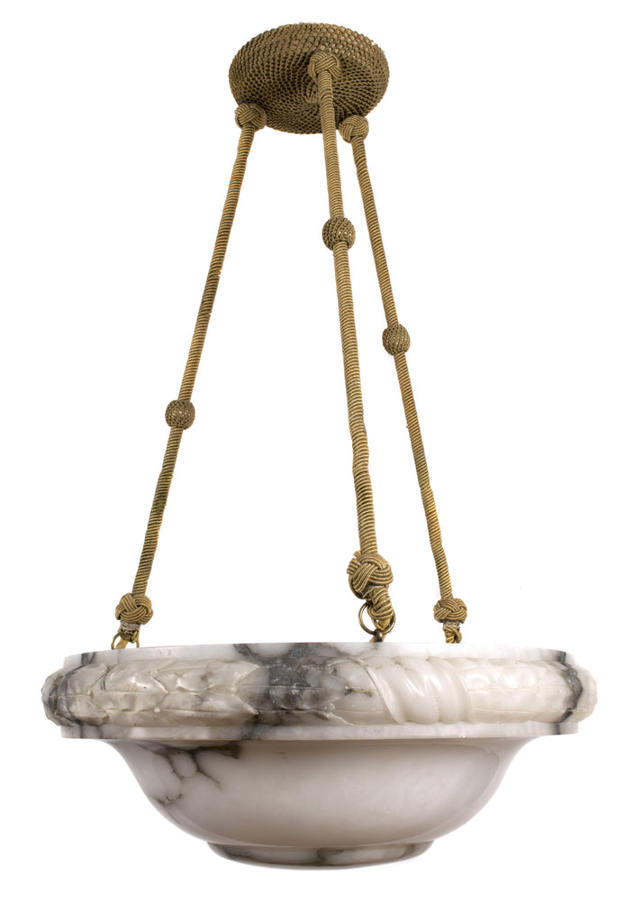 <b>SWEDISH CARVED MARBLE CHANDELIER WITH GOLD CORDING</b><br> CIRCA 1930</br>