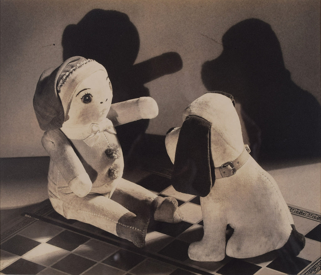 <b>ESTHER BROUILLETTE</b><br> STUFFED ANIMALS ON CHECKERBOARD, CIRCA 1930s</br>