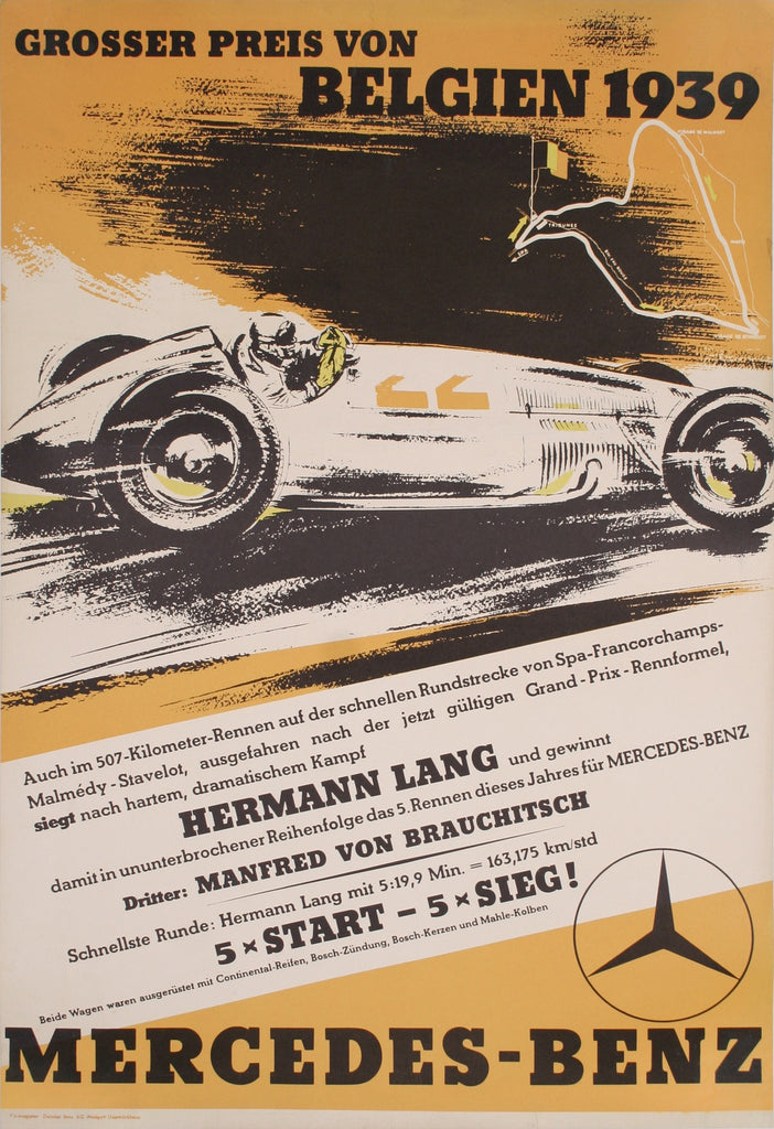 <b>GERMAN POSTER</b><br> MERCEDES-BENZ, CIRCA 1939</br>