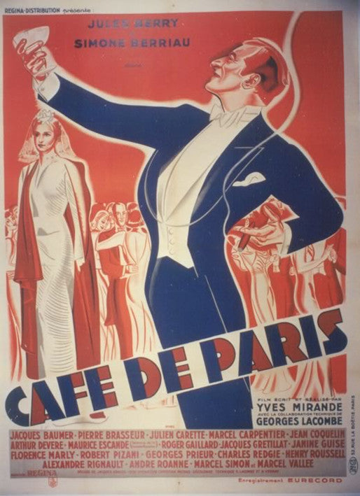 <b> FRENCH POSTER</b><br>CAFE DE PARIS, C. 1940</br>