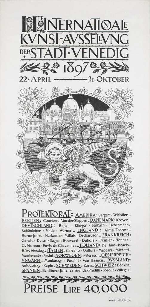 <b> ITALIAN POSTER</b><br> 2nd INTERNATIONAL FESTIVAL OF THE CITY OF VENICE, CIRCA 1897</br>