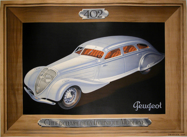 <b>FRENCH POSTER</b><br>PEUGEOT, CIRCA 1937 </br>