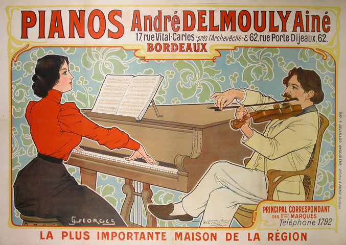 <b> J. GEORGES </b><br> PIANOS ANDRE DELMOULY,  CIRCA 1902 </br>