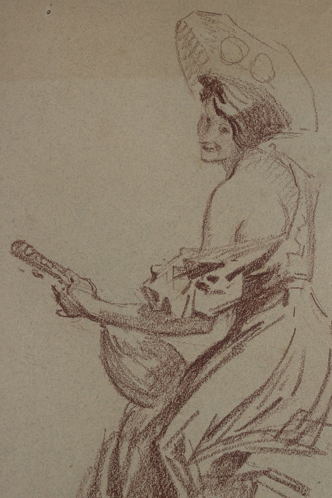 <b>JULES CHERET</b><br> WOMAN WITH MANDOLIN, CIRCA 1890s</br>