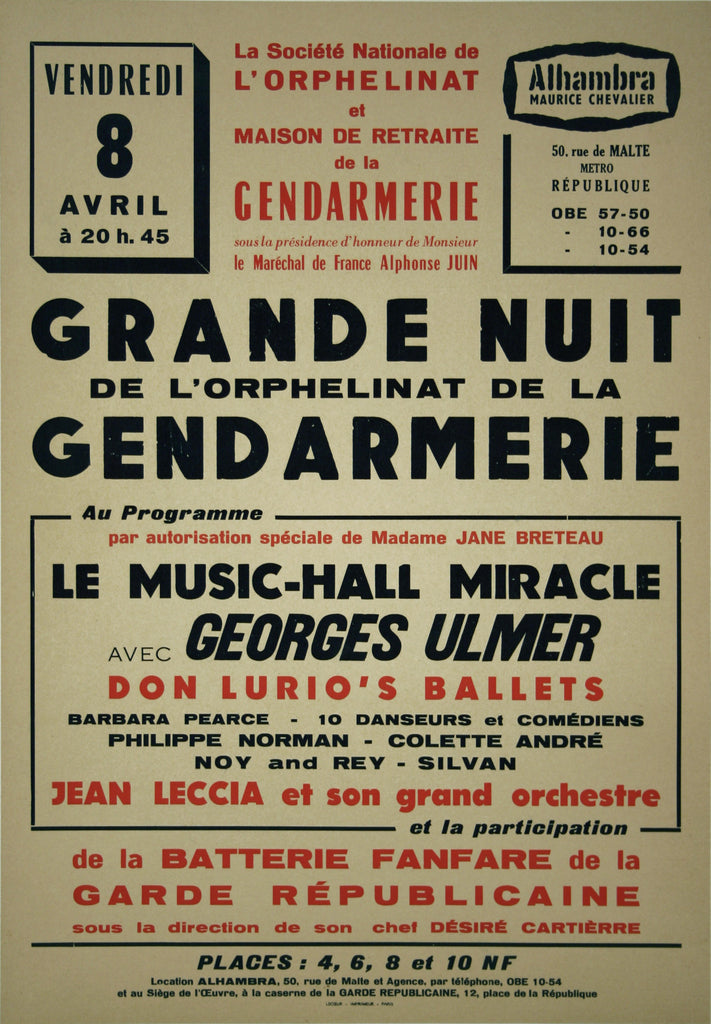 <b> FRENCH POSTER</b><br> GRANDE NUIT, CIRCA 1950's-60's</br>