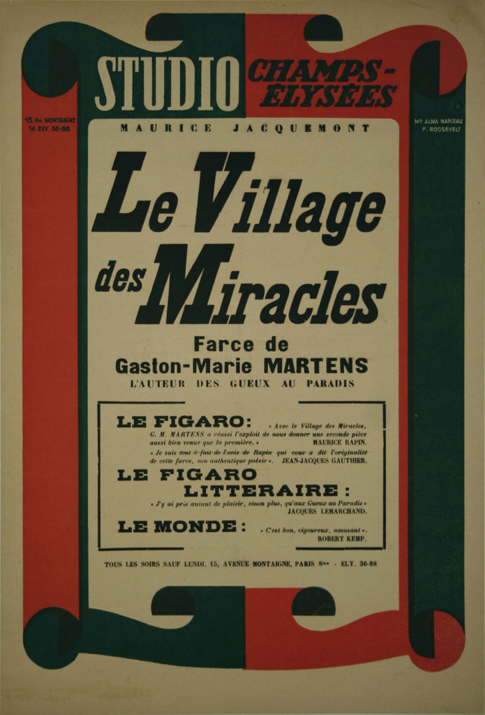 <b> FRENCH POSTER</b><br> LE VILLAGE DES MIRACLES, CIRCA 1950s</br>