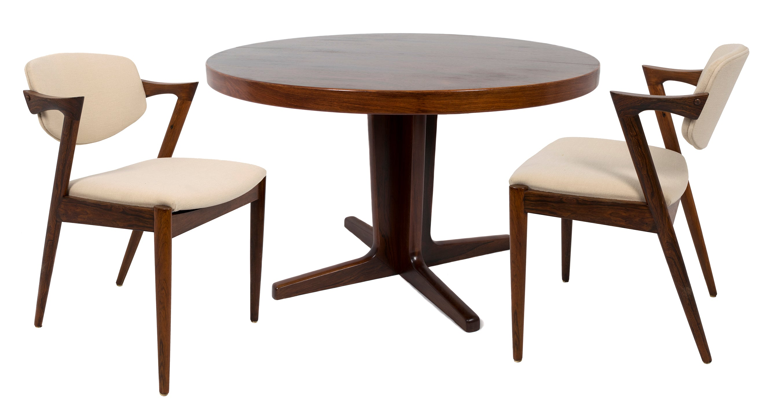 KAI KRISTIANSEN DINING TABLE AND SIX CHAIRS   MODEL 42,CIRCA 1950    Colletti Gallery
