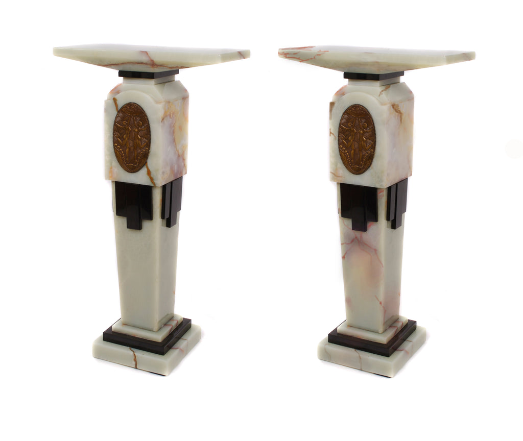 <b>DEMETRE CHIPARUS</b><br>PAIR OF ILLUMINATED ART DECO PEDESTALS (SECOND PRODUCTION), CIRCA 20TH CENTURY</br>