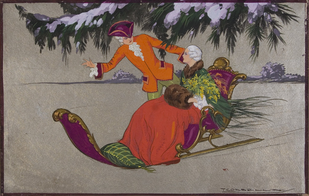 <b>TITO CORBELLA</b><br> MAN AND WOMAN ON SLED, CIRCA 1920s</br>