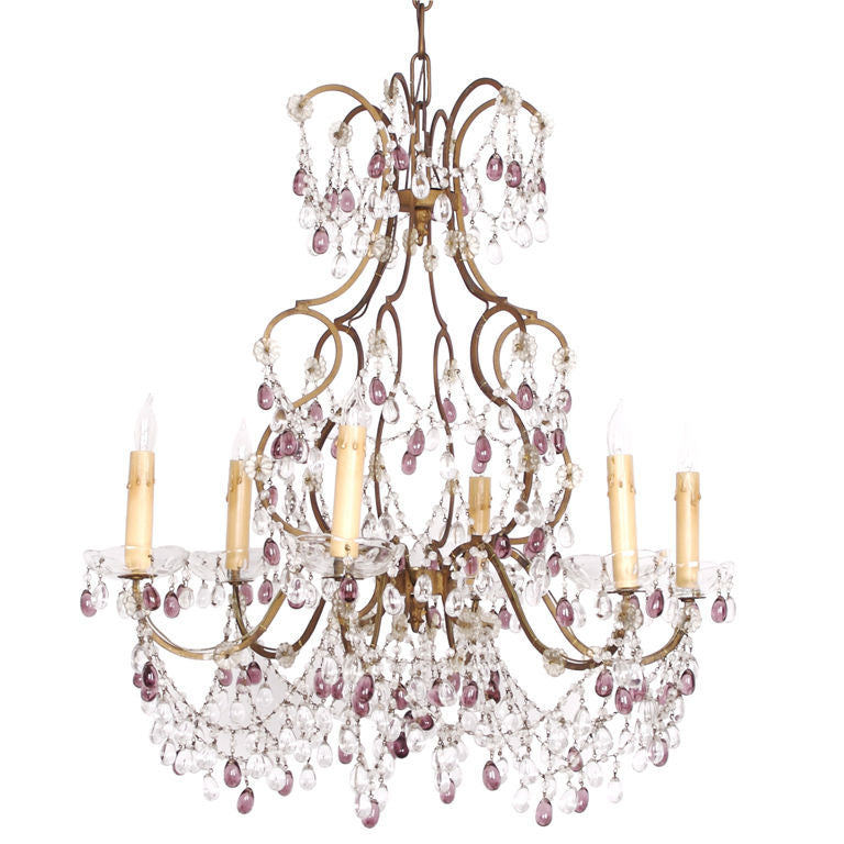 <b>ITALIAN CRYSTAL 6 ARM CHANDELIER</b><br> CIRCA 1950</br>