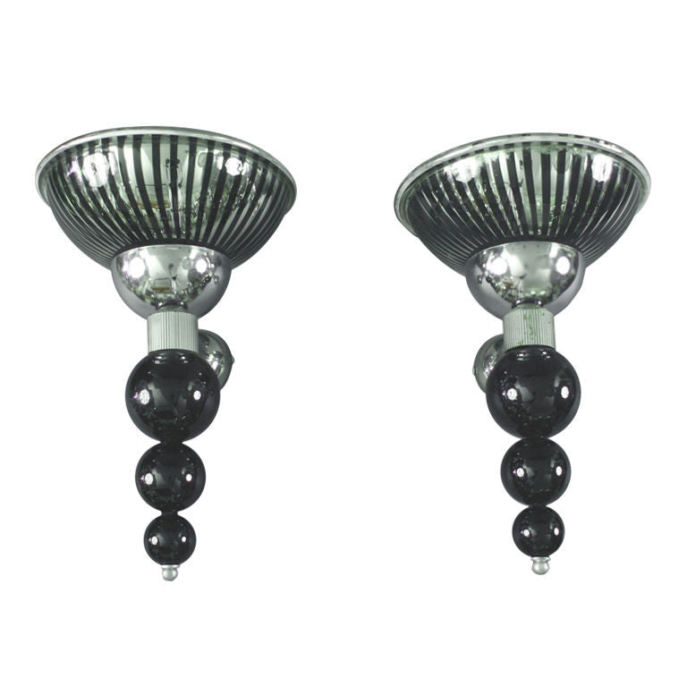 <b>AURELIANO TOSO </b><br>PAIR OF CHROME WALL SCONCES, </br>20th CENTURY