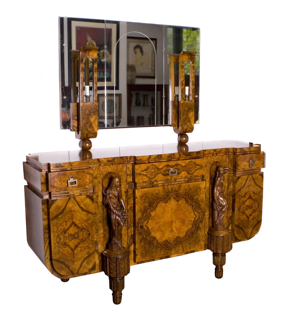 <b>GIOVANNI GUERRINI</b><br> BURLED WALNUT BUFFET WITH MIRROR, CIRCA 1925</br>