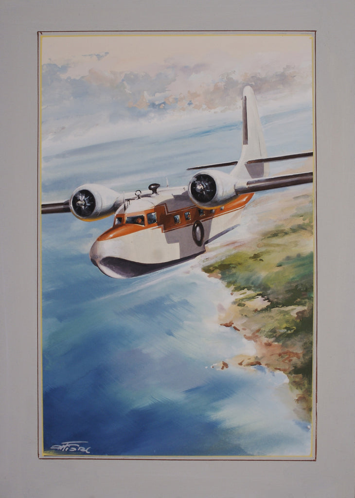 <b>AMLETO FIORE</b><br> NAUTICAL PLANE WATER COLOR, CIRCA 1950</br>SET OF THREE