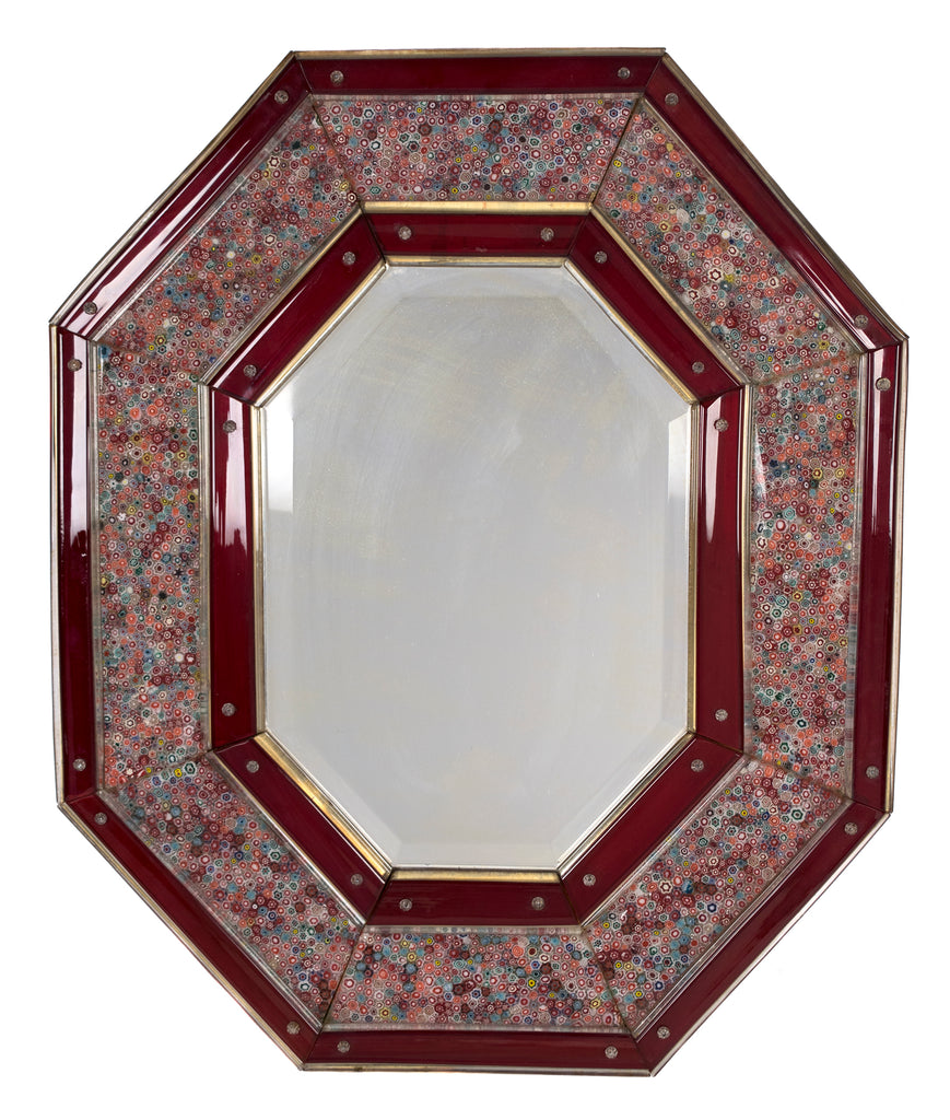 <b>VENINI</b><br>MILLEFIORI RED GLASS MIRROR, CIRCA 1969</br>