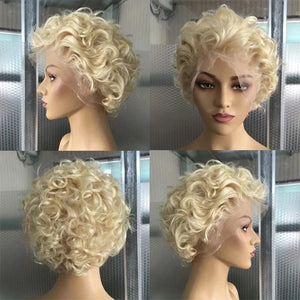 150/180 Density 13x6 Blonde Brazilian Curly Wig