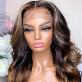 Highlight 13x6 Honey Blonde Colored Lace Front Human Hair Wigs Highlight Ombre Wig Brazilian Remy Wavy 360 Lace Frontal Wigs
