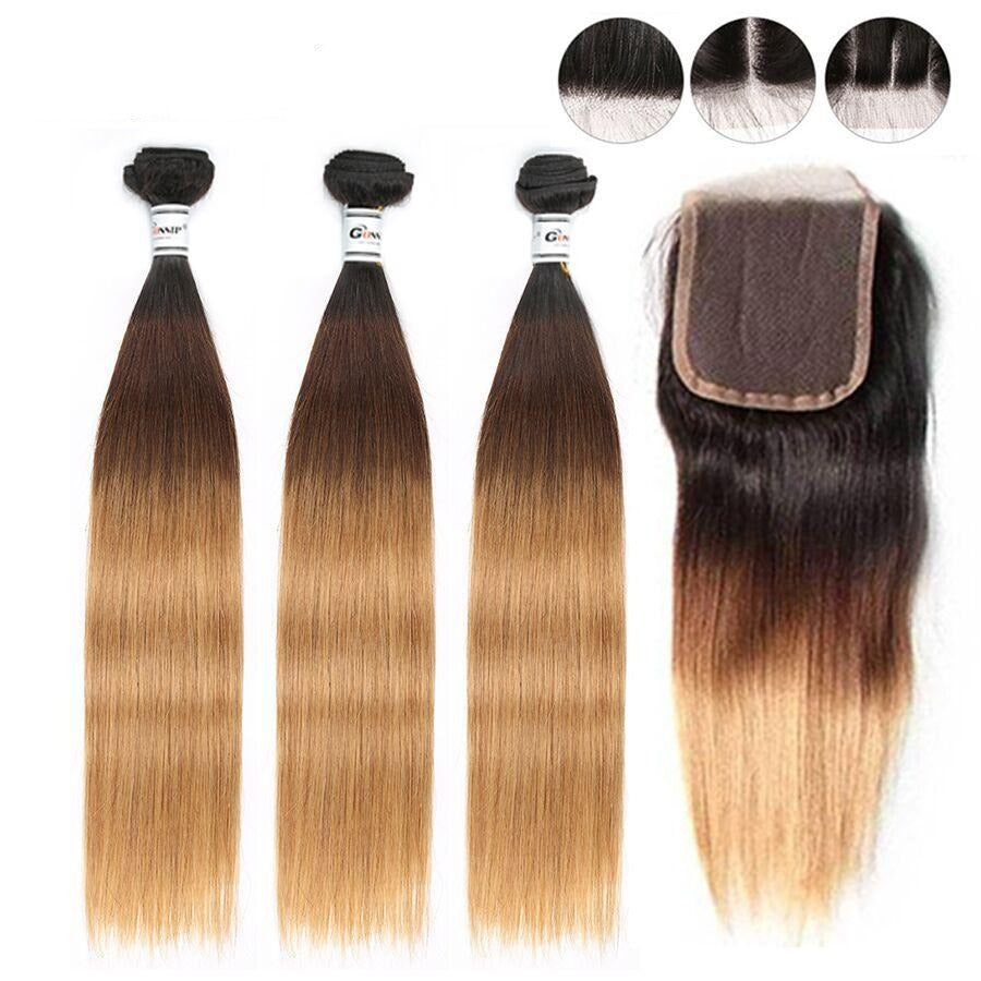 Ombre 1b/4/27 Brazilian Straight Hair Bundles With Closure 3 Bundles Human Hair With Closure Gossip Non Remy Hair Free Shipping