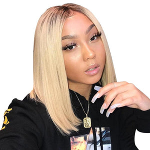 Blonde Brazilian Straight Bob Human Hair Wigs