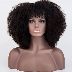 250 Density Afro Kinky Curly Lace Front Human Hair Wigs With Bangs Short Bob Lace Frontal Wig For Women Full 4B 4C Dolago Black