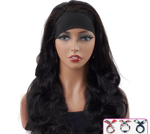 Headband Wig Natural Color Body Wave Human Hair Wigs Scarf Wig Peruvian Hair Body Wave Wig Glueless Wig for Women