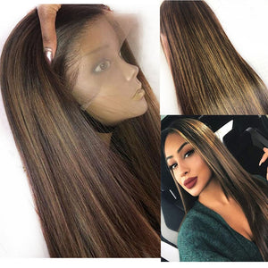 Highlight Blonde 13x6 Lace Front Human Hair Wigs Preuvian Headband Silk Base Full Lace Wig PrePlucked 360 Lace Frontal U Part