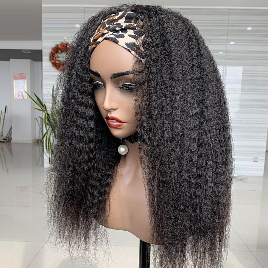 Headband Wig Human Hair Brazilian Kinky Straight Human Hair Wigs For Women Glueless Full Machine Made Wig With Headband