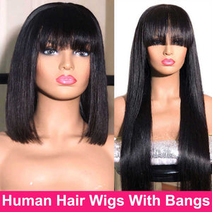28 Inch Straight Human Hair Wigs With Bangs Short Bob Wig With Bangs Human Hair Full Machine Made Remy Brazilian Straight Wig