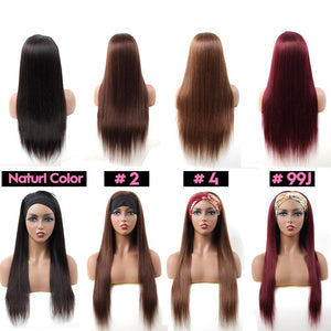 Straight Headband Wig Human Hair Wigs 180% Density Brazilian Straight Hair Wig Full Machine Made Wig For Black Women