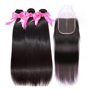 3 Bundles Straight Hair With Closure Remy Human Hair Bundles With Closure  4*4 Free Part Swiss Lace Indian Hair Extensions