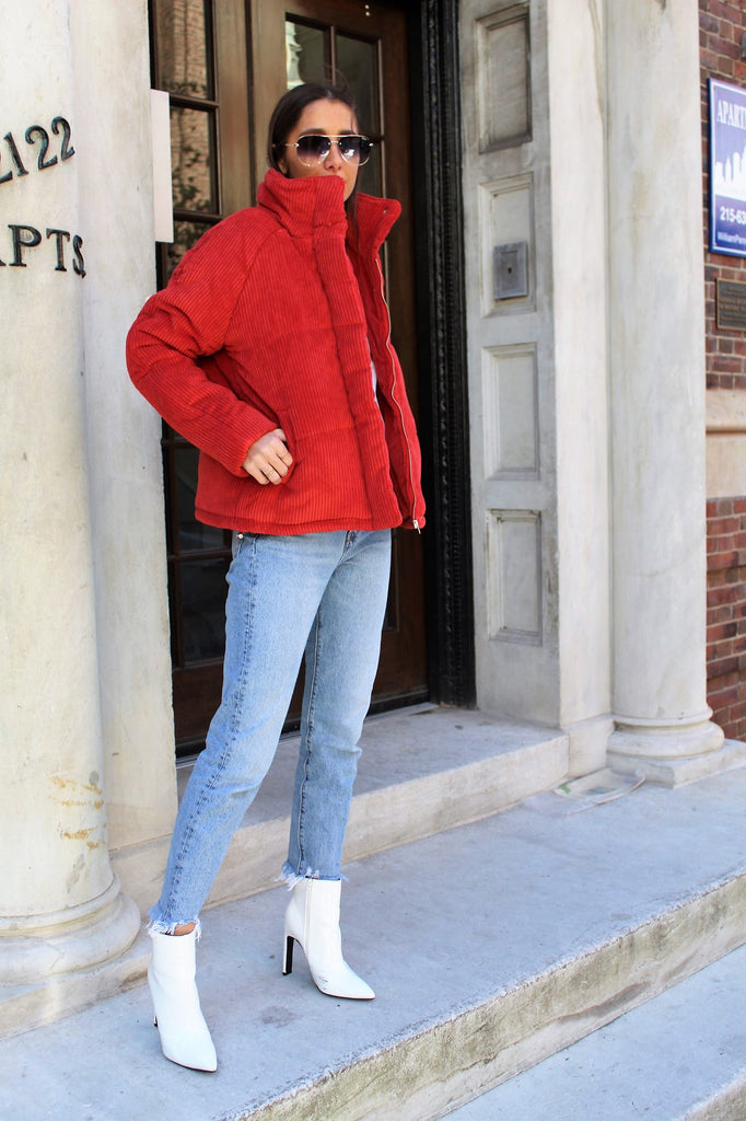 Red Corduroy Puffer