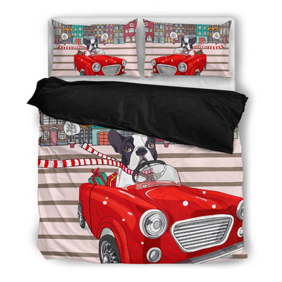 Boston Terrier Bedding Set White Ja05PM