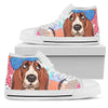 Basset Hound High Top Canvas Shoe White PT30