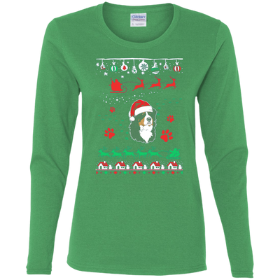 Bernese Mountain Christmas T-shirts G540L Gildan Ladies' Cotton LS T-Shirt