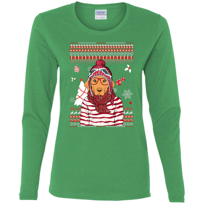 Christmas golden retriever G540L Gildan Ladies' Cotton LS T-Shirt