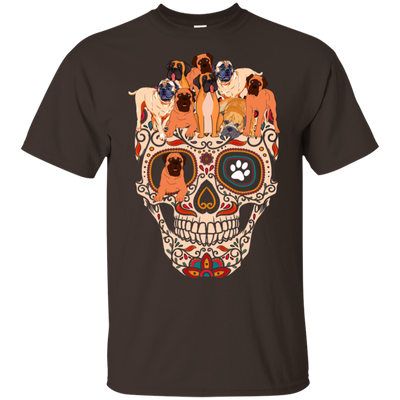 Bull Mastiff Skull Black T-Shirt PT