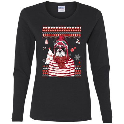 Christmas boston terrier Tshirt G540L Gildan Ladies' Cotton LS T-Shirt