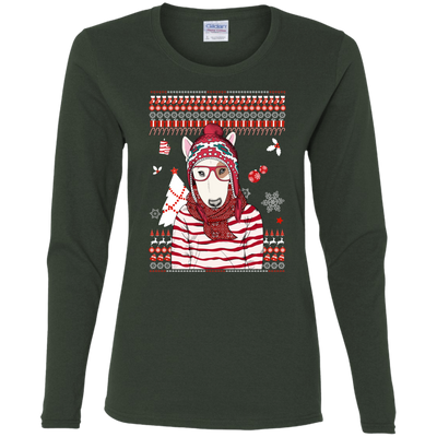 Christmas bull terrier G540L Gildan Ladies' Cotton LS T-Shirt