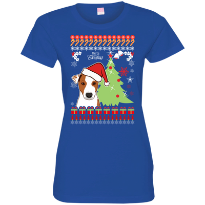 Jack Russell Christmas T-shirts 3516 LAT Ladies' Fine Jersey