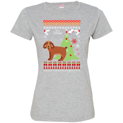 Cocker Spaniel Christmas T-shirts 3516 LAT Ladies' Fine Jersey