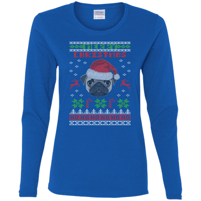 Pug Christmas T-shirts G540L Gildan Ladies' Cotton LS T-Shirt