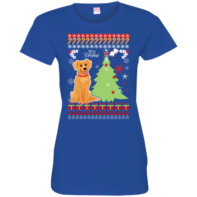 Golden Retriever Christmas T-shirts 3516 LAT Ladies' Fine Jersey