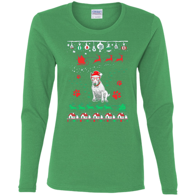 Bull Terrier Christmas T-shirts G540L Gildan Ladies' Cotton LS T-Shirt