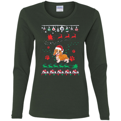 Cavalier Christmas T-shirts G540L Gildan Ladies' Cotton LS