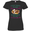 Old english sheepdog Snack Tshirt 3516 LAT Ladies' Fine Jersey T-Shirt