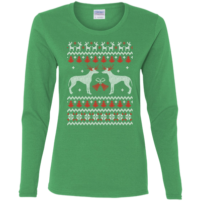 Greyhound Christmas T-shirts 02 G540L Gildan Ladies' Cotton LS